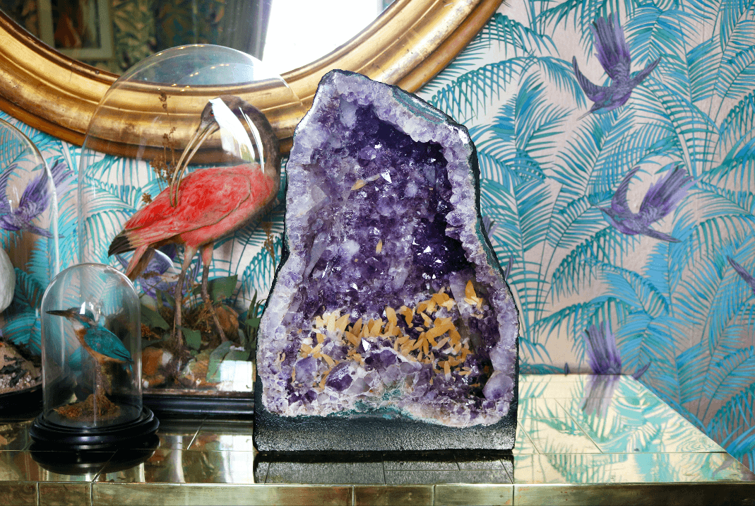 Large Amethyst Crystal with Calcite - A Modern Grand Tour