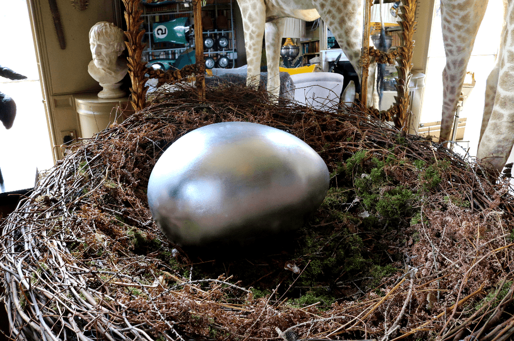 Silver Egg Footstool - A Modern Grand Tour