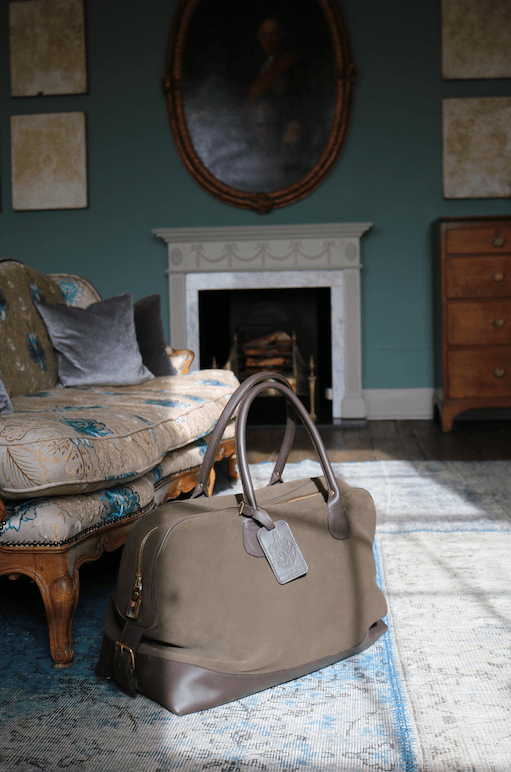 Large Aynhoe Overnight Bag in Moss Green Suede - A Modern Grand Tour