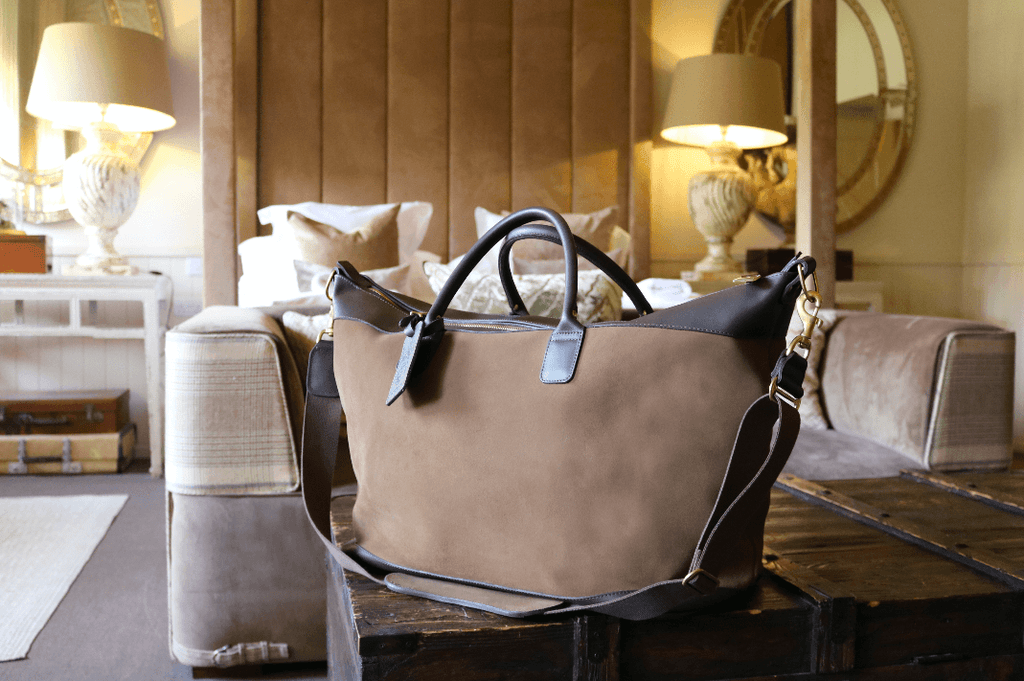 Large Aynhoe Overnight Bag in Stone Suede - A Modern Grand Tour