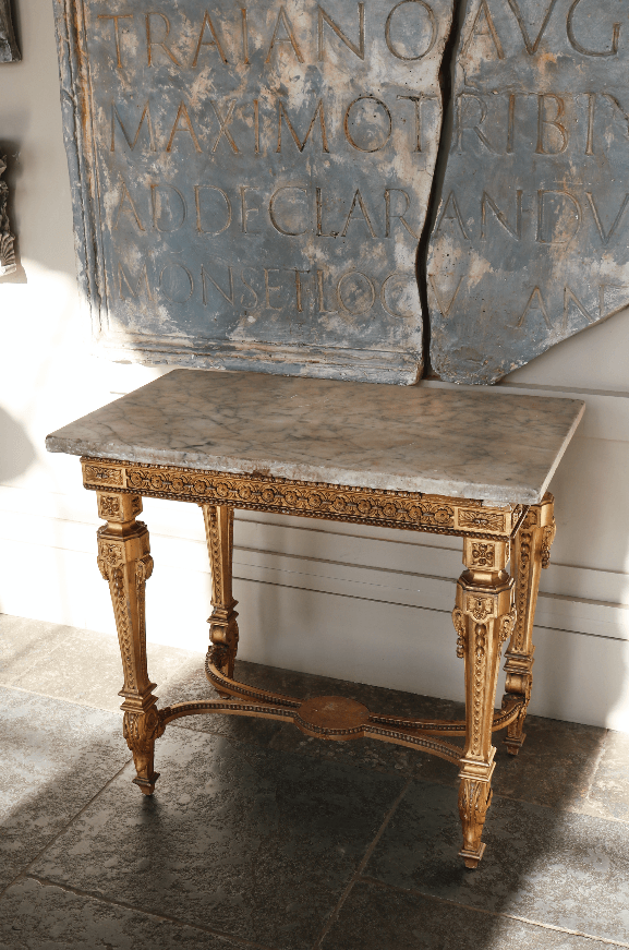 An Ornate Gilded Side Table with Marble Top