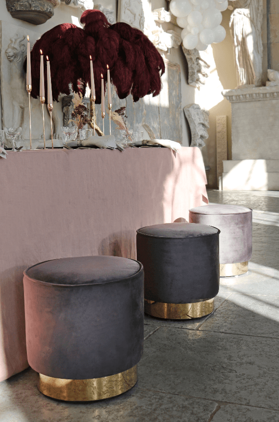 Velvet Slate Grey Stool With Gold Base - A Modern Grand Tour