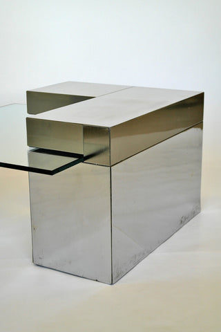Cubist Mirrored Chrome and glass table
