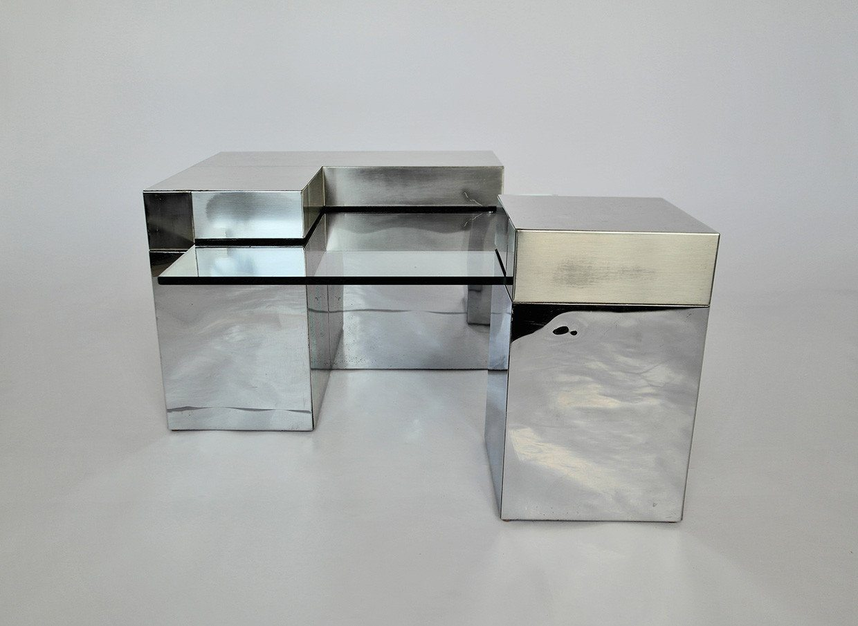 Cubist Mirrored Chrome and Glass Table - A Modern Grand Tour