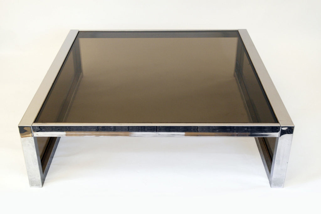 Mirror Chrome and Smoke Glass Modernist Coffee Table, circa 1970s - A Modern Grand Tour