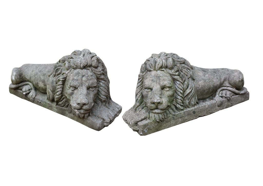 Pair of Large 20th Century Stone Lions - A Modern Grand Tour