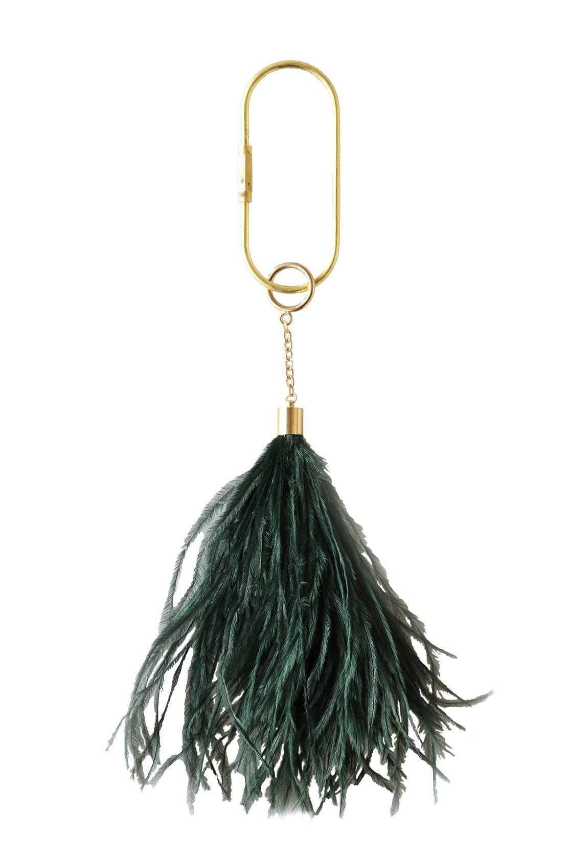 Feather Keyring in Bottle Green