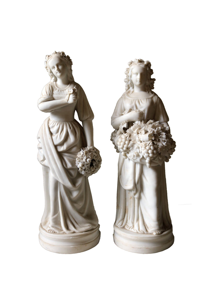 Pair of early 20th Century English, classical bisque ladies - A Modern Grand Tour