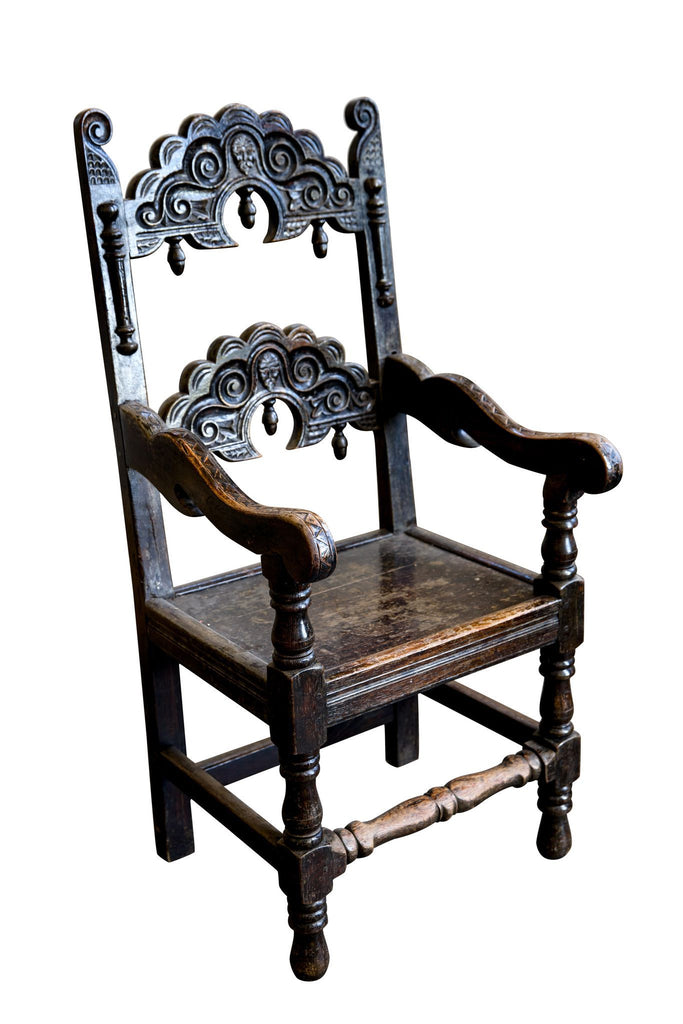 18th Century Carved Oak Carver Armchair