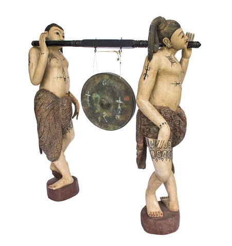Unusual Burmese Gong with Carved Teak Statues - A Modern Grand Tour