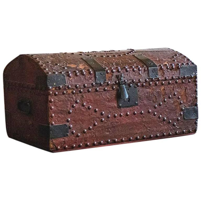 Georgian Red Leather Trunk