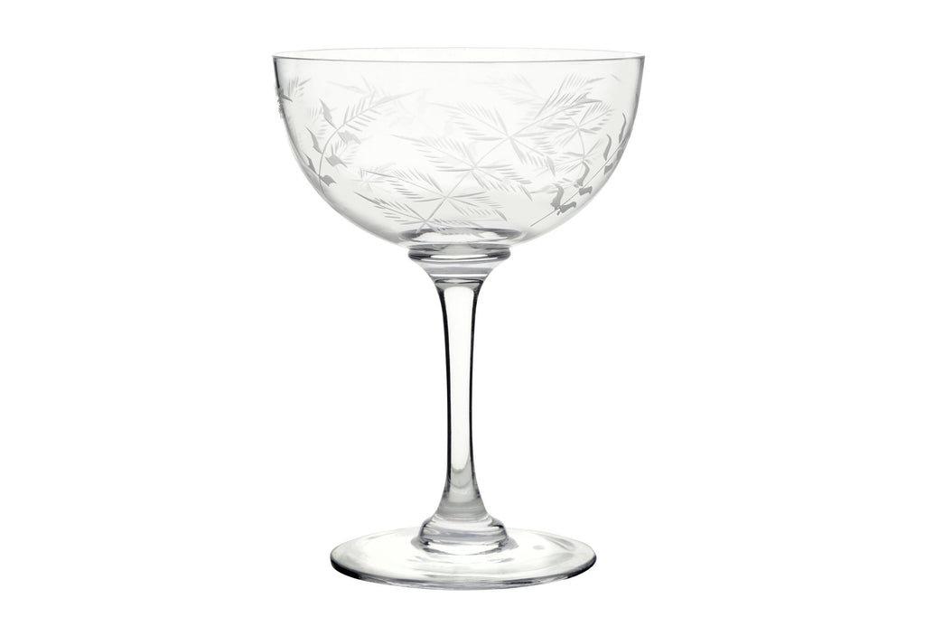 A Set of Six Oval Engraved Champagne Coupe Glasses - A Modern Grand Tour
