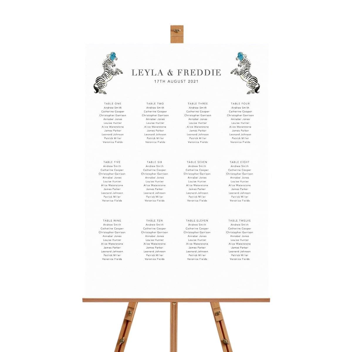 Party Animals Table Plan
