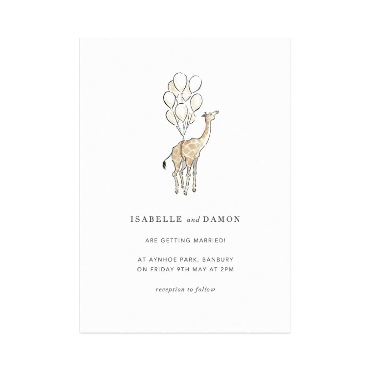 Wedding Invitations - Celebration Animals - A Modern Grand Tour