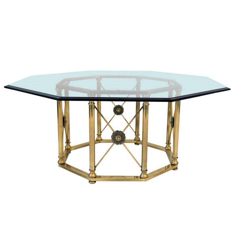 Hollywood Regency Octagonal Brass Coffee Table