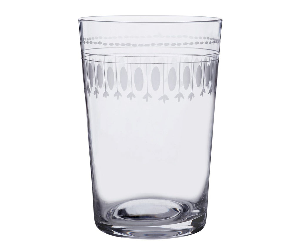 A Set Of Six Oval Engraved Crystal Tumbler Glasses - A Modern Grand Tour