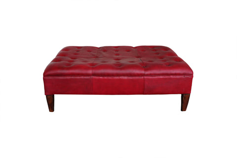 Red Leather Library Stool - A Modern Grand Tour