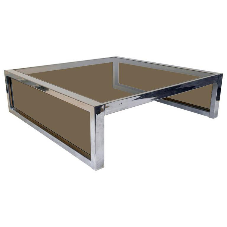 Mirror Chrome and Smoke Glass Modernist Coffee Table, circa 1970s