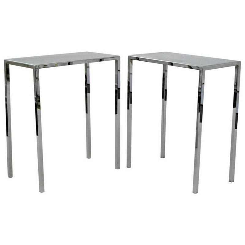 Pair of Chrome Side Tables by Philippe Starck