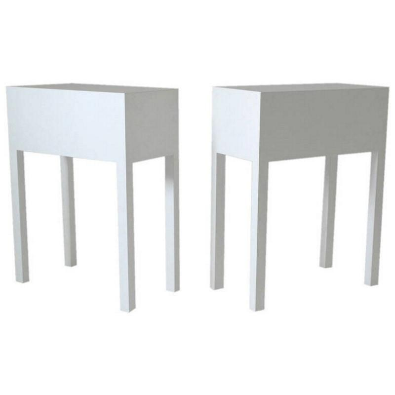 Pair of White Cube Tables by Philippe Starck