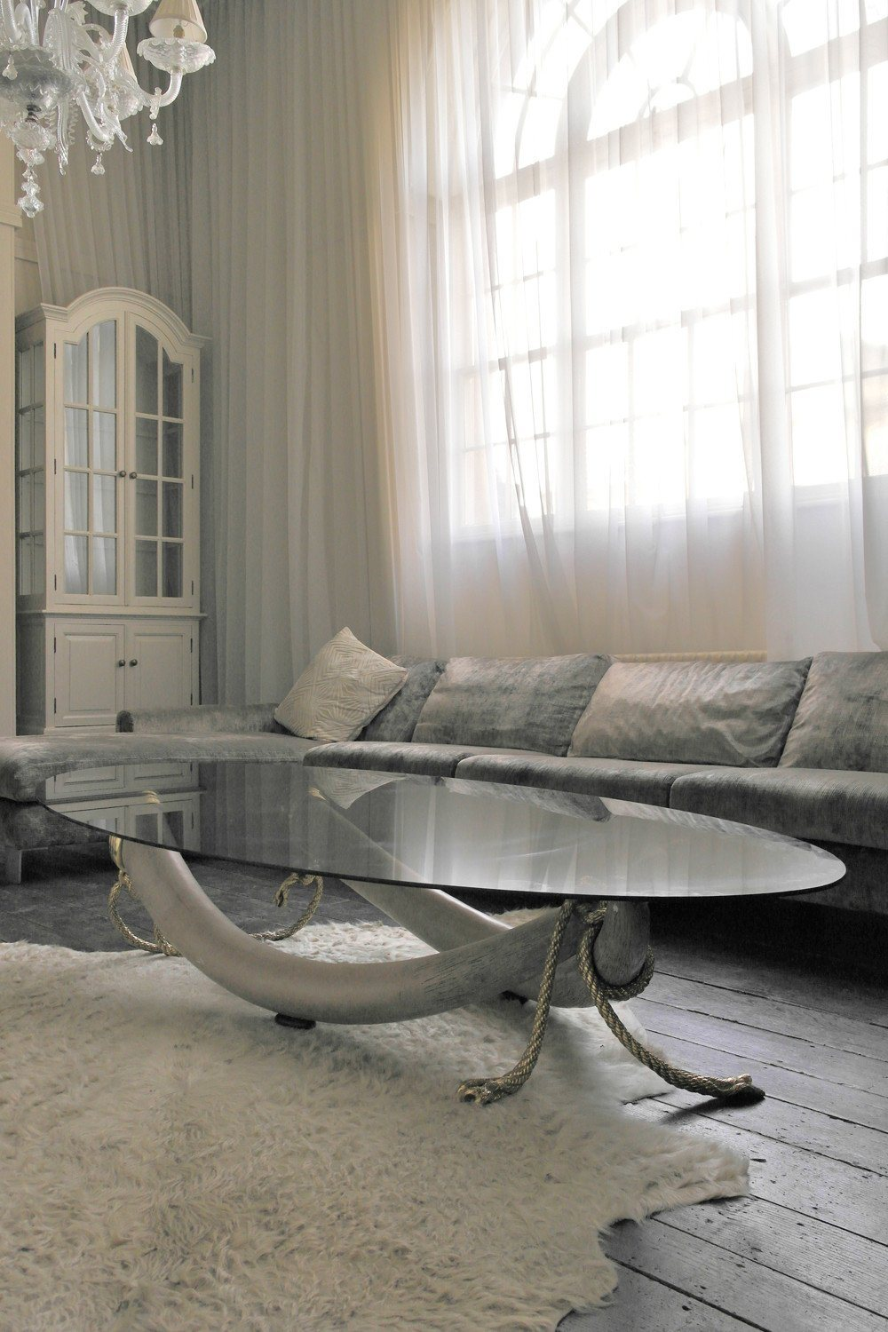 Large Smoke Glass & Brass Tusk Base Coffee Table - A Modern Grand Tour