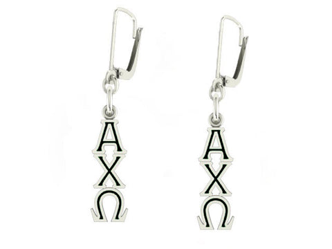 Alpha Chi Omega Lavaliere Lever-back Black Enamel Earrings