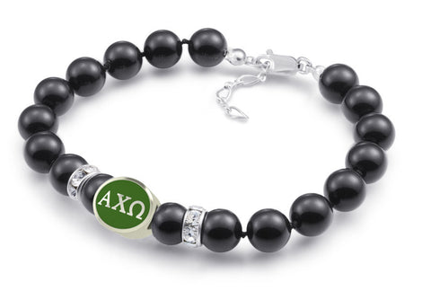 alpha chi omega black pearl color bead bracelet