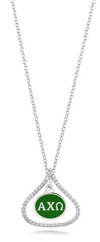 Alpha Chi Omega Sterling Silver and CZ Necklace