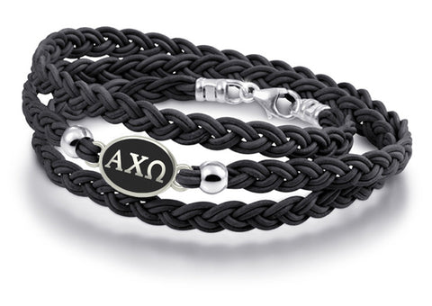 alpha chi omega leather bracelet