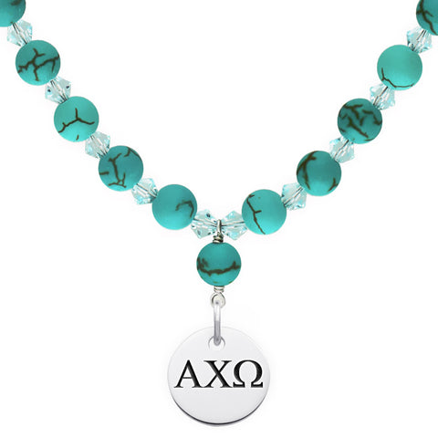 Alpha Chi Omega Greek Letters Turquoise Necklace With Circle Charm