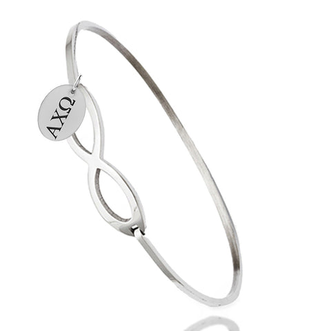 Alpha Chi Omega Greek Letters Infinity Style Bangle Bracelet