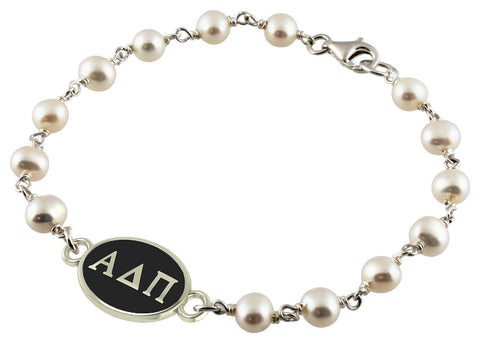 Alpha Delta Pi Tin Cup Pearl Bracelet with Antiqued Top