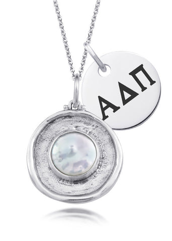 Alpha Delta Pi Pearl Coin Necklace
