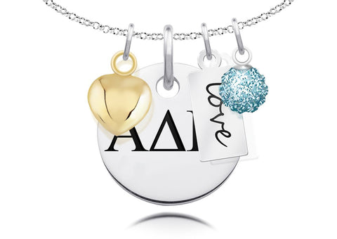 Alpha Delta Pi Greek Letters Necklace with Heart, Crystal, and Message Charm