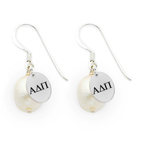 Alpha Delta Pi Omega Greek Letters Freshwater Pearl Drop Earrings
