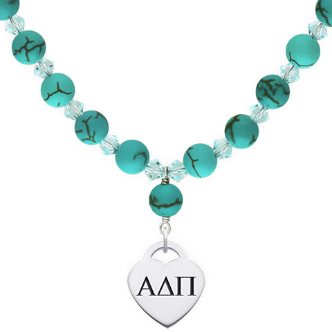 Alpha Delta Pi Omega Greek Letters Turquoise Necklace With Heart Charm