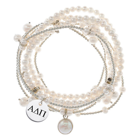 Alpha Delta Pi Omega Greek Letters Stretch Bracelet With 7 Strands of Freshwater Pearls and Sterling Silver