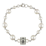 Alpha Delta Pi Tin Cup Pearl Bracelet with Barrel Bead
