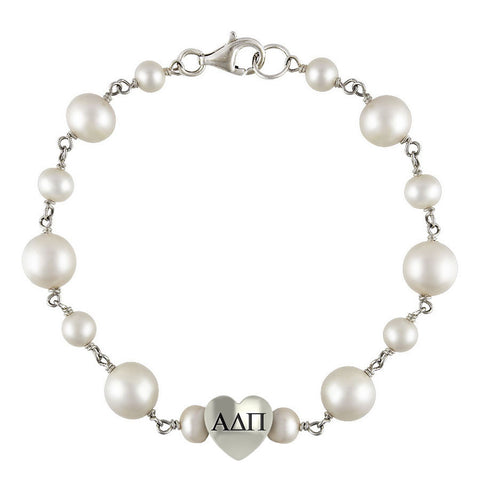 Alpha Delta Pi Tin Cup Pearl Bracelet with Heart Bead