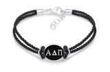 Alpha Delta Pi Double Strand Rubber Bracelet with Antiqued Enamel Top