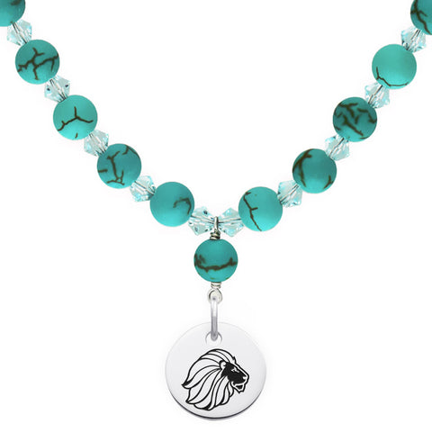 Alpha Delta Pi Omega Symbol Turquoise Necklace With Circle Charm