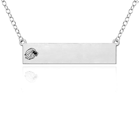 Alpha Delta Pi Omega Symbol Sterling Silver Bar Style Necklace