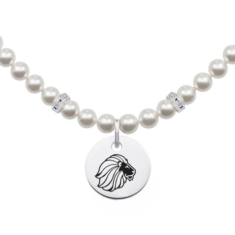 Alpha Delta Pi Omega Symbol Pearl Necklace With Round Charm