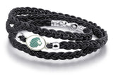 Alpha Delta Pi Enamled Top Black Leather Wrap Bracelet