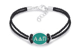 Alpha Delta Pi Double Strand Rubber Bracelet with Color Enamel Top