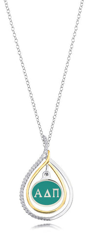 Alpha Delta Pi Two Tone Silver and CZ Necklace