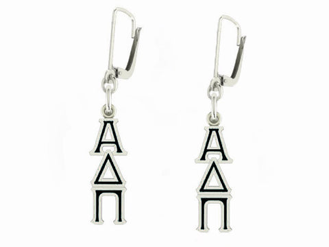 Alpha Delta Pi Lavaliere Lever-back Black Enamel Earrings