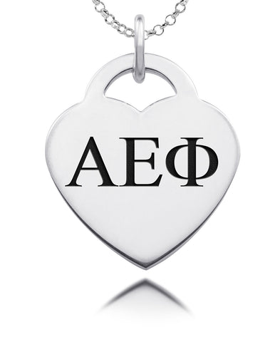 Alpha Epsilon Phi Greek Letters Heart Charm