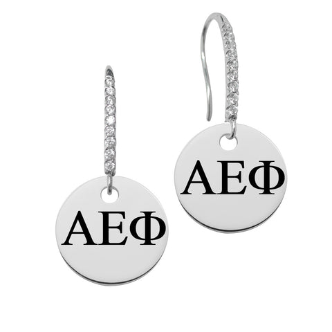 Alpha Epsilon Phi Greek Letters Round Charm and CZ Earring in Solid Sterling Silver