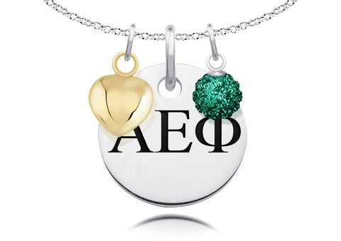 Alpha Epsilon Phi Greek Letters Necklace with Heart and Crystal Ball Charms